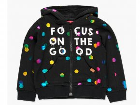 <p>Dívčí mikina na zip s kapucí. Barevná kompozice žíhaně zbarvených metalických puntíků jakoby planetek, na černém základě (barvy žlutá, oranžová, růžová, fialová, tyrkysová, zelená a modrá). </p>