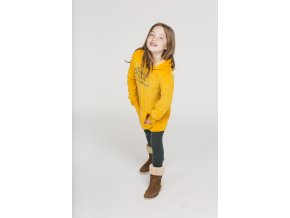 Dlouhá dívčí mikina šaty s kapucí a klokánkem šafrán žluté pytel Boboli boboli Loobook AW19 (84)