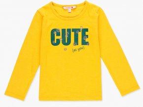 Dívčí bavlněné tričko s dlouhým rukávem ve fantasticky teple žluté barvě šafránu