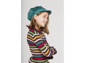 Holčičí pruhovaný svetr s volánky čokoláda barevný lentilky veselý Boboli holka