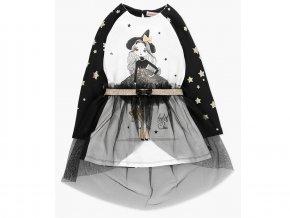 <p>Kombinované krátké dívčí šaty s dlouhým rukávem a se samostatnou sukní s kouzelnickým charisma. Bavlněné šaty, v předu bílé a s černými rukávy a zády, potištěné zlatými hvězdami.</p>