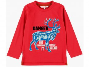 červené tričko kluk Mechanický jelen hladící dlouhý rukáv Boboli5080253644 a