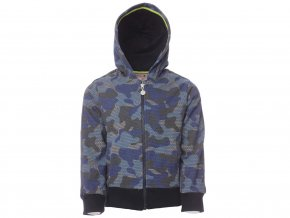 Maskáčová mikina na zip kluk Boboli modrá b