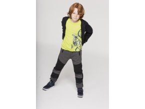 Chlapecké tričko s dlouhým rukávem hladící potisk moto bike limetkově zelené Boboli kluk model