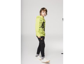 Klučičí triko hladící potisk skate svítivě zelené dlouhý rukáv a kapuce Boboli kluk