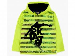 <p>Pruhované chlapecké tričko s kapucí, dlouhým rukávem a s plyšovým artovým skaterem</p>