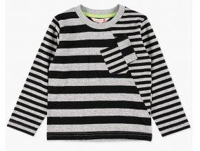 Chlapecké bavlněné tričko s dlouhým rukávem, v kontrastních barvách světle šedého melíru a černých proužků dvou velikostí. Náprsní kapsy v asymetrickém střihu předního dílu. Art design