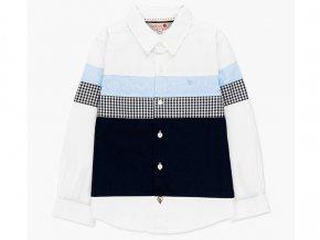 Chlapecká košile s dlouhým rukávem, bílá košile s modrou kulatý lem Boboli knoflíkář.