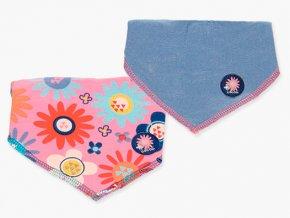 <p>Sada praktických bryndáčků 100% bavlny a se savou spodní stranou z froté. Zapínání na patentku pro dvě velikosti. Ozdobeno barevným potiskem moderních květů v různých barvách.</p>