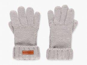 Dívčí prstové rukavice z jemného a měkkého úpletu šedé barvy s žebrovým lemem.