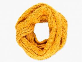 Dívčí pletená šála typu tunel z velmi měkkého a příjemného materiálového složení hořčičné barvy