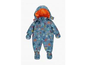 Kojenecká zimní kombinéza mimi chlapeček modrá oranžová barevná Boboli rukavice botičky 1381699120 a