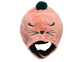 Dívčí čepice růžová kočička ušanka Boboli set A