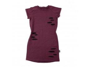 Dívčí strečové bavlněné šaty s krátkým rukávem a délkou nad kolena a s ozdobnými falešnými rozpáranými záplatami.