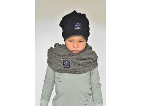 Dětská šála pletená šedivá