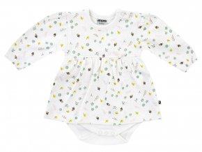 Kombinované dětské body z jemné bavlny se šatičkami s dlouhým rukávem a s jemným potiskem na podzimní motivy. OEKO-TEX certifikát.