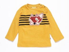 Jemně bavlněné dětské tričko pro miminko s dlouhým rukávem, pruhy a nášivkou hravé lišky na prsou.