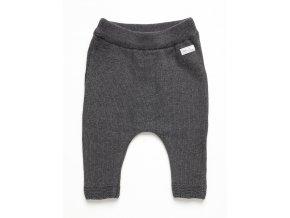 Dětské kalhoty pro miminko z jemné pletené příze antracitové barvy s drobnou nášivkou Něco si přej (Make a wish). OECO-TEX certifikát.