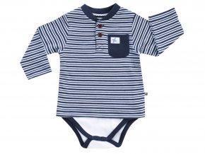 Pruhované kombinované dětské body s dlouhým rukávem z jemné bavlny pro chlapečka