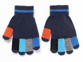 Dětské prstové rukavice z pleteniny ve veselých barvách a s tečkovým protiskluzem.
