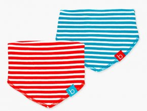 Barevný kojenecký bryndáček 2ks Boboli modrý červený pruhovaný 1281799113 e