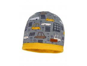 Dětská zimní čepice z jemné pleteniny a s podšívkou ze 100% bavlny ve žluté barvě.
