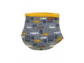 Dětský zimní nákrčník z jemné pleteniny a podšívkou ze 100% bavlny ve žluté barvě. Prodloužený obloukový lem pro zakrytí výstřihu.