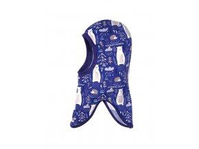 Dětská zimní kukla s dlouhým obloukovým lemem pro zakrytí výstřihu. Barevný potisk (tmavě modrá, bílá, arktická modř). Použití kukly pod helmu nebo čepici.