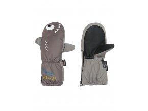 Dětské zimní palcové rukavice zateplené fleecem a se snadným oblékáním. Voděodolné (waterproof) a prodyšné (breathable).  Veselý žralok.