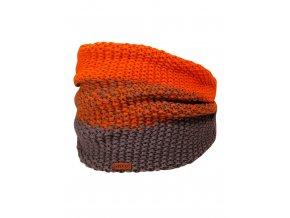 Dětský zimní nákrčník, pletený vzor obourubní, tedy velmi pružný a silný. Barevná kombinace antracitově šedé s oranžovou s melírovým přechodem. Kožené logo značky.