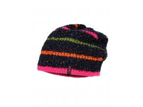 Dívčí zimní čepice z vlny, pletená hrubým vzorem a s příjemnou fleecovou podšívkou. Barevné proužky svítivých barev.