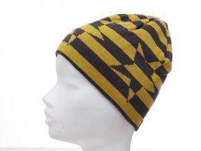Oboustranná dětská čepice tvaru beanie z jemného pleteniny. Jedna strana má žluto-šedé pruhy a velkou hvězdu. Druhá strana je teple šedá.