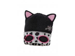 Dívčí pletená čepice ve tvaru beanie s maskou kočky v lemu, který po ohrnout dá vyniknout skvrnité podšívce. Růžové uši se třpytkami. Výšivka kočky s fousky a vystřihnutými dírami na oči.