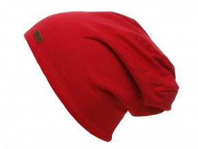 Dětská oboustranná zateplená čepice. Jedna strana z křiklavě červené bavlny, druhá z jemného šedého fleecu. Lem lze ohrnout pro kontrast barev s podšívkou.