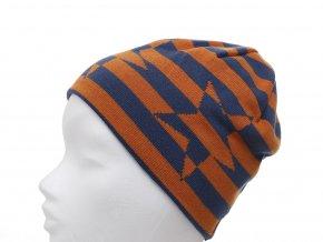 Oboustranná čepice kluk holka kvalitní oranžová tmavě modrá pruhovaná hvězda