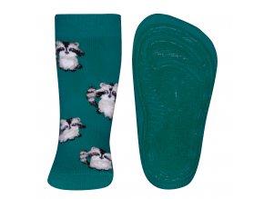 Dětské ponožky s protiskluzem Mýval Jade nefrit zelená celoplošný protiskluz měkké bačkůrky na doma