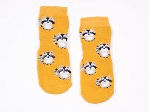 dětské ponožky s protiskluzem Kari Mýval zvířatko žluté - kari