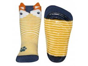 Dětské ponožky s protiskluzem Liška žluté - kari modré