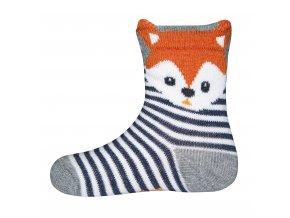 Dětské pruhované ponožky Lišák (Barva modrá - bílá, Velikost EU 23-26)