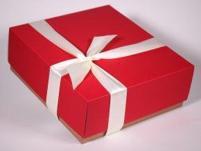 Červená bílá dárková krabice designová papírová pevná se stuhou minimel.czCiconia