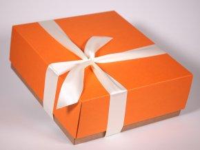 Oranžová bílá dárková krabice designová papírová pevná se stuhou minimel.cz