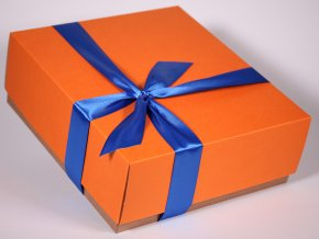 Oranžová dárková krabice designová papírová pevná se stuhou minimel.cz