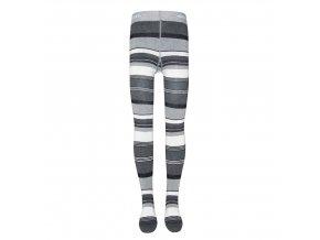 Dívčí punčocháče s různě širokými a barevnými pruhy světle a tmavě šedé barvy se stříbrnými třpytkami.