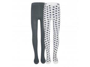 Dívčí punčocháče Puntík (2 páry) šedé bílé černé puntíky dva páry