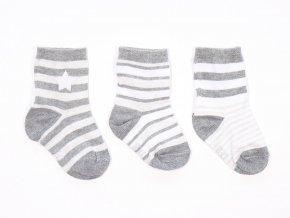 Dětské bavlněné ponožky světlé Trio (3 páry) (Barva bílá - šedá, Velikost EU 27-30)