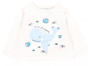 1091901100 a Kojenecké bavlněné tričko Verlyba bílé modré dlouhý rukáv