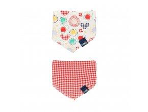 Sada dvou praktických bryndáčků či slintáčku pro holčičku ze 100% bavlny kytičky červená kostkovaná1390929257 a