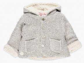 <p>Měkounká pletená bunda pro miminko na knoflíkové rozepínání, s kapucí a kapsičkami a se super jemným kožíškem z chlupatého fleecu pro božské pohodlíčko.</p>