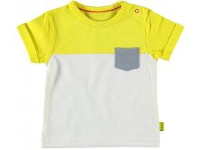 Kojenecké tričko s krátkým rukávem pro kluka s kapsičkou světlé barevný blok žluté B.E.S.S NL