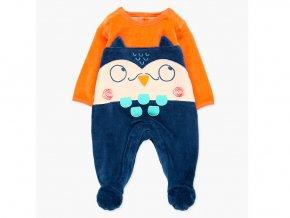 <p>Pružný kojenecký overal z jemného sametu (bavlněný velur) s dlouhými rukávy, nohavicemi s protiskluzy a sovím ocáskem. </p>